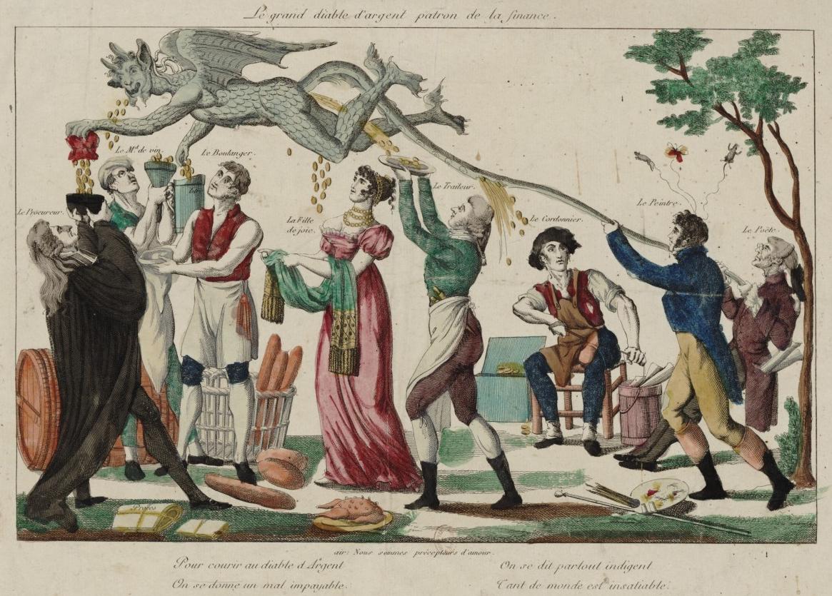 """""""Le Grand Diable d'Argent Patron de la Finance"""", handkolorierter Kupferstich eines unbekannten Künstlers, Frankreich, frühes 19. Jahrhundert. Leute aller Berufe verfolgen den fliegenden Geldteufel."""